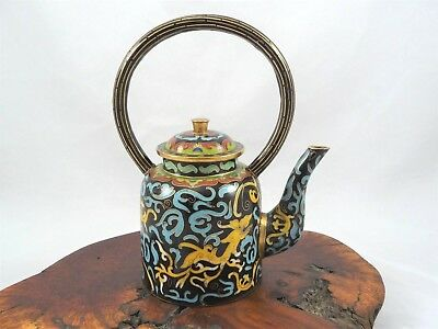 Chinese Cloisonne Over Brass Teapot With Fixed Handle Dragon & Tiger Motif