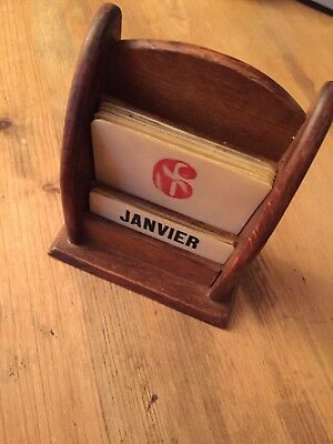 Vintage French wooden perpetual calendar