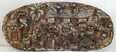 Large Vintage Ethnic African Wooden Hand Carved/Painted Wall Hanging Plaque