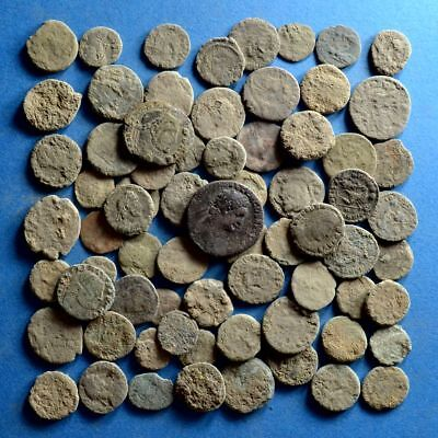 Lot of 70 Uncleaned AE1 AE2 AE3 AE4 Roman Bronze Coins