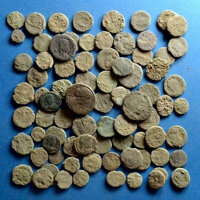 Lot of 80 Uncleaned AE1 AE2 AE3 AE4 Roman Bronze Coins