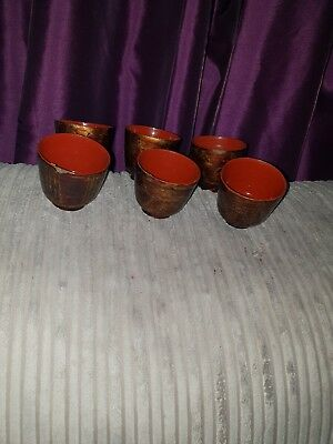 Unusual Vintage 6 Papier Mache Cups Hand Painted Handmade Black Gold Red joblot