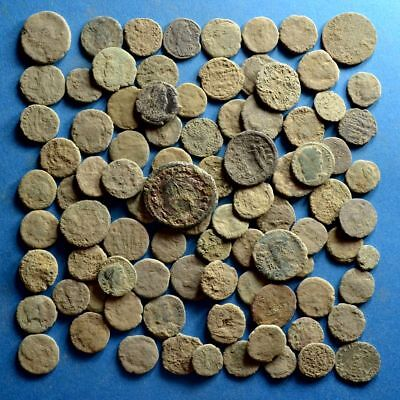 Lot of 90 Uncleaned AE1 AE2 AE3 AE4 Roman Bronze Coins