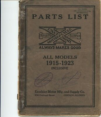 Excelsior Motorcycle, Parts List, All Models 1915-1923, original