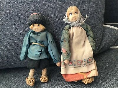 "5"" Rare Antique Russian Soviet Doll Couple Peasant Dolls Circa 1900's-1930's N/R"