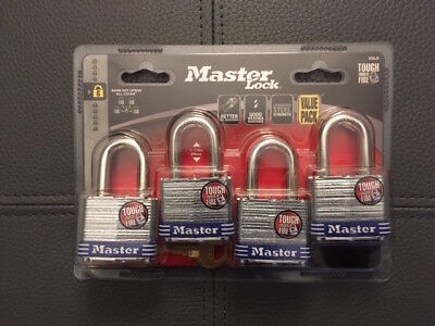 MASTER LOCK,4 Pk,Same Key All Locks, Model #3QLD,Sturdy,Strong,Tough Under Fire!