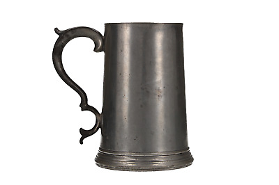 A Victorian pewter Quart tankard Glass bottom Antique English