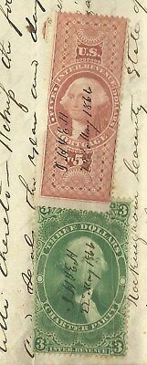 1866 Rockingham County Va Deed Indenture With High $ Tax Stamps - Harnsberger