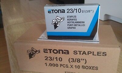 "ETONA 23/10  3/8"" Staples - 10 Boxes of 1000 each"