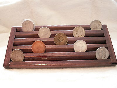 Military Challenge Coin/Casino Chips Wood Display Holder 5 Tier->DARK CHERRY STN