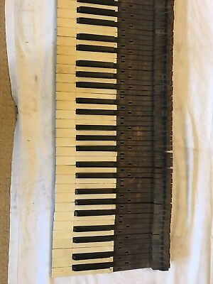 Set Of Vintage Piano Keys Antique Old Wooden Reclaimed Upcycle Display Prop