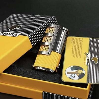 COHIBA Yellow Gridding Stripes 3 Torch Jet Flame Cigar Lighter and Punch #420