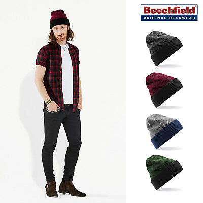 Beechfield Reversible Heritage Beanie - Cuffed/slouch warm winter hat men/women
