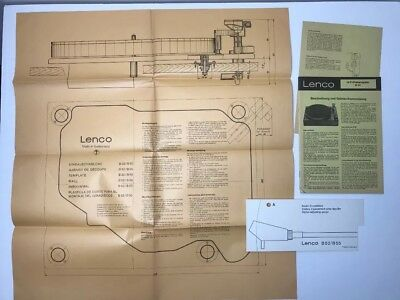 Vtg Lenco B52 Hi Fi Record Player Operating Instructions + Mounting Template etc