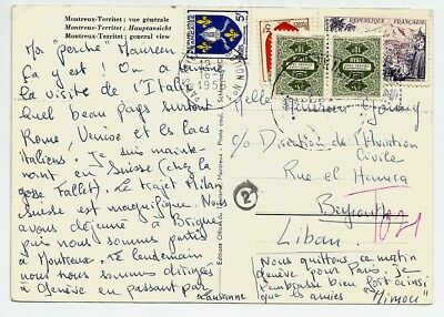 Lebanon 1956 Card Postage Due stamps used on a post card sent from France to Leb