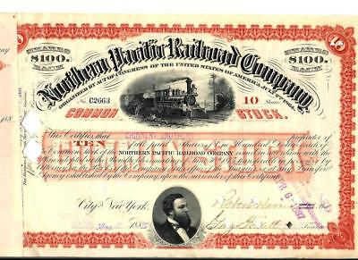 Northern Pacific Railroad Company, 1885, Papier über 10 Shares, USA