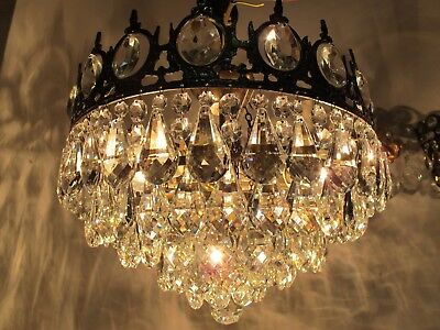 Antique Vnt French Plafonniere Crystal Chandelier Lamp Lustre 1940's 16in Dmetr