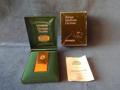 Boxed Old Ronson Varaflame  Electronic Touchlite Gold Plated Pocket Lighter