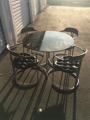 DAYSTROM Chrome And Black Vintage Dinette Set Mid Century