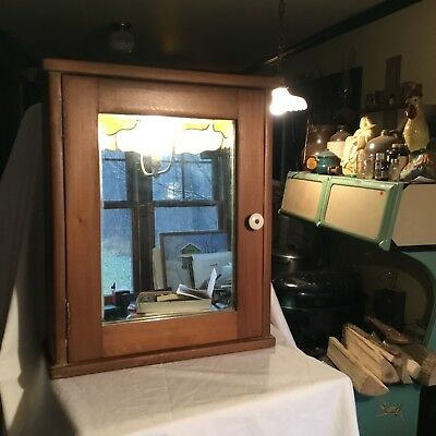 Vintage Antique Wooden Medicine Cabinet With Mirror Farm House Decor Wall Mount