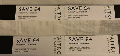 4x£4 Waitrose VOUCHERS COUPONS OFF A £20 SPEND AT WAITROSE valid 3 February 2019
