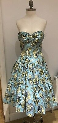 Vintage 1950's Full-Skirted Strapless Floral Cotton Prom/Sun Dress, Small Size