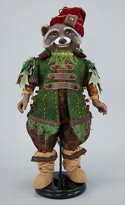 """Katherine's Collection raccoon huntsman & stand Into the woods Woodland 18"""""""
