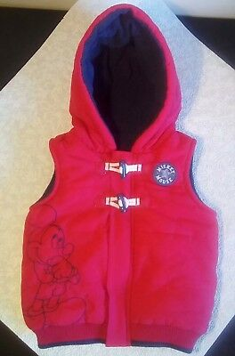 Disney Mickey Mouse Baby Boys Hooded Body Warmer Fleece ~ 12-18 Mths