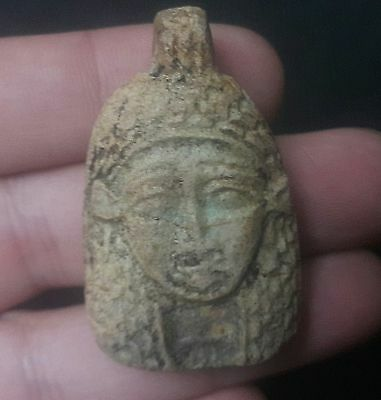Rare Ancient Egypt Egyptian Antique FAIENCE FACE OF WOMAN AMULET b(600–1000 BC