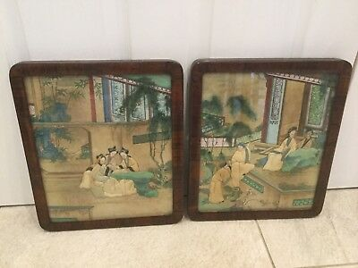 """TWO VINTAGE CHINESE TRAPUNTO/QUILTED FABRIC PAINTINGS. BAMBOO FRAMES. 12x14""""."""
