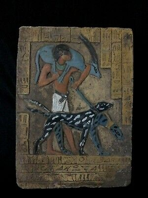 Egyptian Antiques Stela Relief Egypt Stone Tutankhamu Is Hunting with His Dog BC