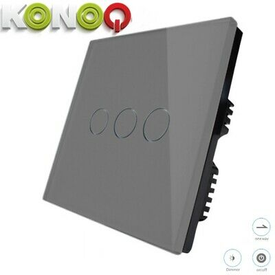 KONOQ+ Luxury Glass Panel Touch LED Light Smart Switch DIMMER, Grey, 3Gang/1Way