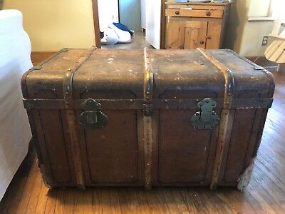 Antique Leather Trunk with Cunard Line labels