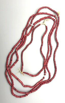 Vintage African Trade Red White Hearts Glass Beads (4 strands)
