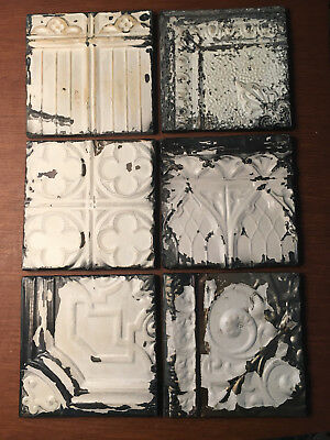 "Vintage 11"" x 11"" white TIN CEILING Tiles panel wood frame Victorian antique"