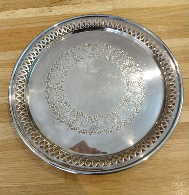Ornate Sheffield Silver Plated Tray Excellent condition 10 inches diameter