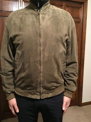 f180fbf10 ERMENEGILDO ZEGNA Suede Leather Bomber Jacket Coat - EU 54