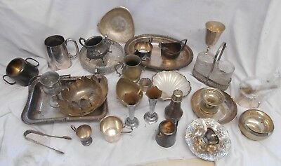 Vintage JOB LOT of 1930s 1940s 1950s SILVER PLATED Antique JUGS EPNS Dish Bowl