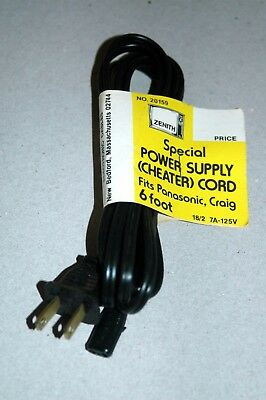 Power Cheater Cord - Fits Zenith Panasonic Graig - 6 Ft  2 Prong Small Connector