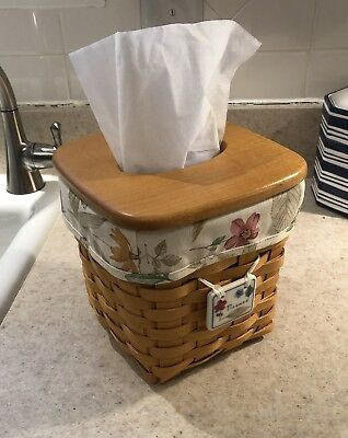 LONGABERGER 1998 Tall Tissue Basket w/ Liner, Protector, Wooden Lid, and Tie-On
