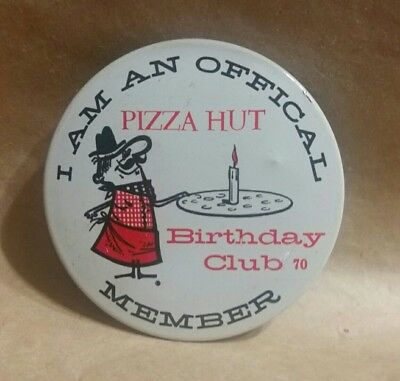 ~Rare Misspelled~ 1970 Offical Pizza Hut Pete Birthday Club Pinback Button