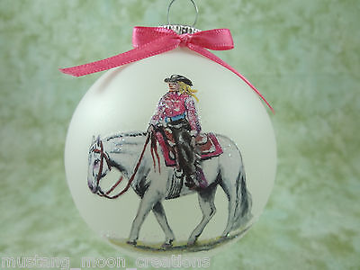 rH043 Hand-made Christmas Ornament- horse QH quarter horse western pleasure pink