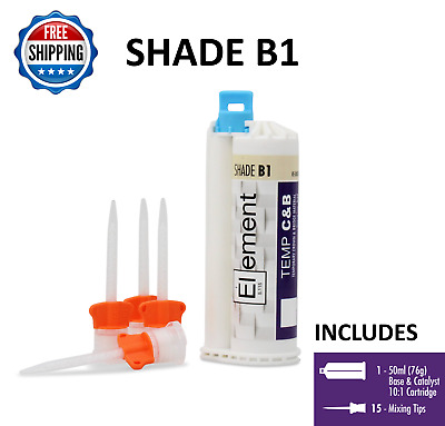 ELEMENT Temporary Crown and Bridge Material Cartridge 76g w/ 15 tips SHADE B1