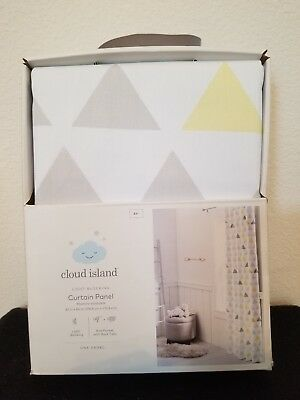Cloud Island Light Blocking Curtain Panel Gray White Triangles Yellow 42 x 84