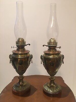 Rare Pair Pr Of Antique Victorian / Edwardian Ornate Brass Oil Lamps