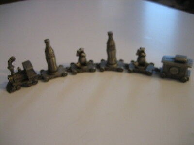 6 Pc Vintage 1990's Coca Cola Coke Train Pewter Finish Engine Caboose Bear
