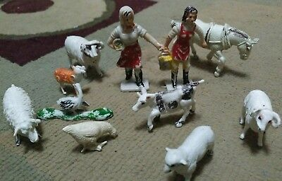 Vintage Plastic Farmer's Wife And Animals Marx?