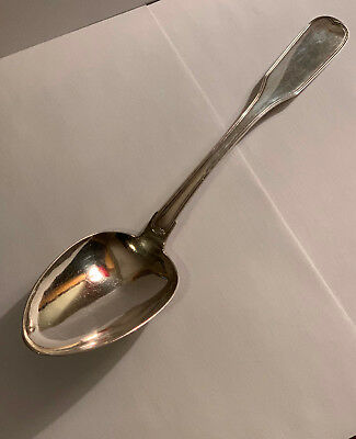 Antique Silver Fiddle Thread Large Danish Serving Spoon Armorial 1844 Denmark
