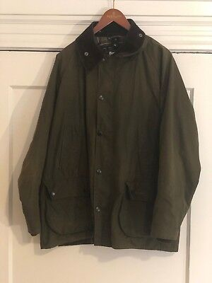 Men's Barbour Classic Bedale Waxed Cotton Jacket Size 44 Olive w/ Hood