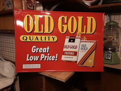 Vtg Old Gold Cigarette Embossed Tin Advertising Store Sign Tobacco 26 x 17 1/2